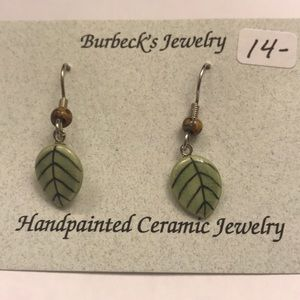 Handmade hand painted ceramic leaf earrings